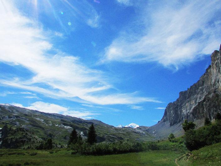 Plaine Collet d'Anterne avec sommet du Mont-Blanc